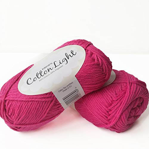 Cotton Blend Yarn for Knitting and Crocheting, 4 or Medium, Worsted, DK Weight, Drops Cotton Light, 1.8 oz 115 Yards per Ball (18 Pink) (Cotton Yarn 8 4 Or 8 8)