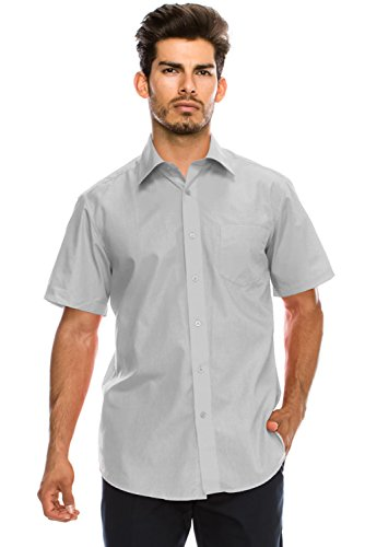 - JC DISTRO Men's Regular-Fit Solid Color Short Sleeve Dress Shirt, LightGray Shirts (3XL)