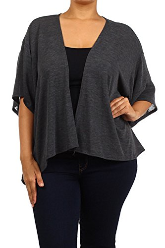 Modern Kiwi Everyday Solid Open Short Sleeve Plus Size Cardigan Charcoal 3X