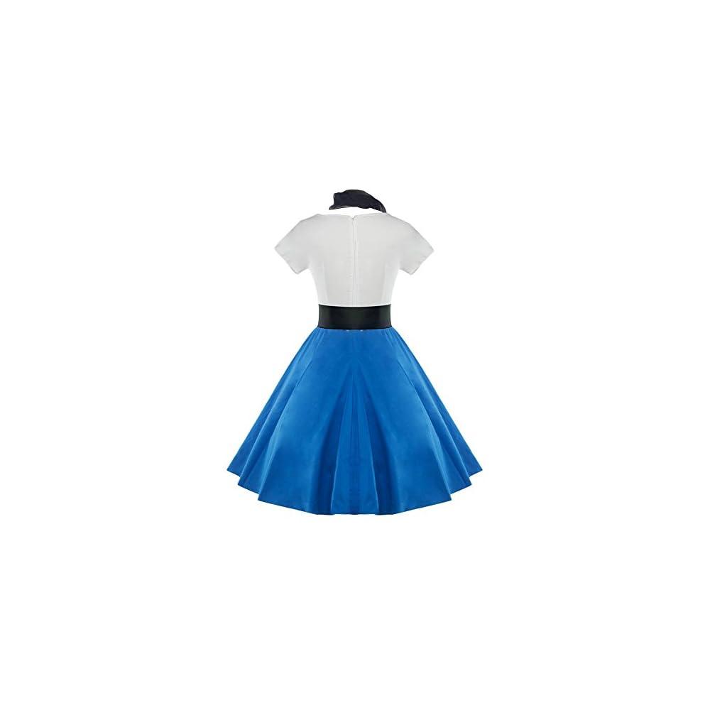 f577ff281e5 DressLily Retro Poodle Print High Waist Skater Vintage Rockabilly Swing Tee  Cocktail Dress