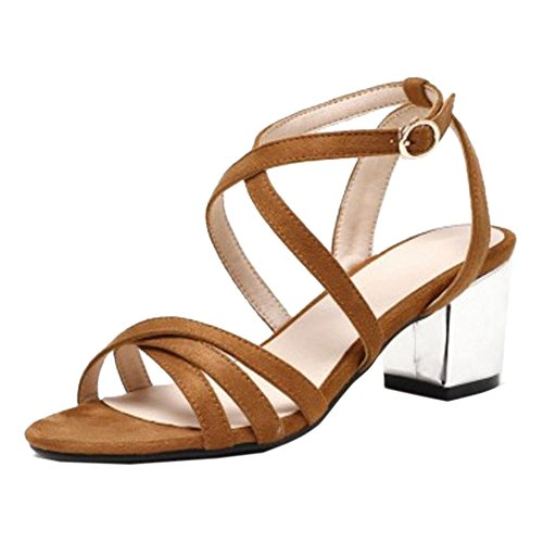 JOJONUNU Sandales Talons Femmes Bloc Brown Light 1r41q8