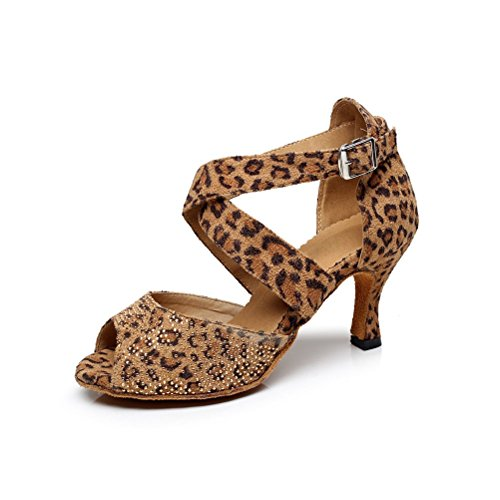 BCLN Womens Open toe Sandals Latin Salsa Tango Heels Practice Ballroom Dance Shoes with 2.75 Heel Animal Print zLkrx