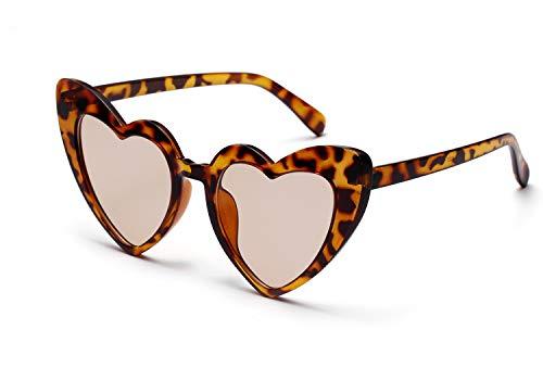 FEISEDY Vintage Heart Shaped Sunglasses Stylish Love Eyewear Women Great Christmas Gift B2421 (Leopard, ()