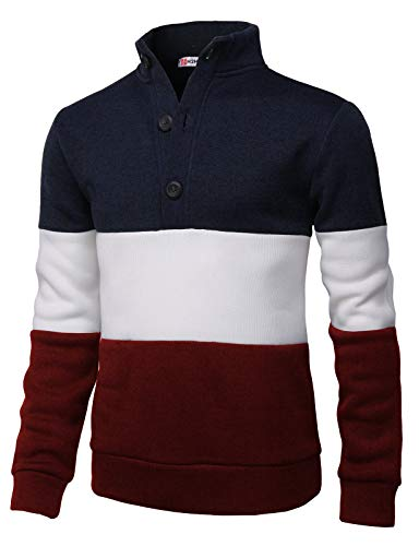 (H2H Mens Fashion Knitted Slim Fit Pullover Sweaters Color Block High-Neck with Button Point Navy US 2XL/Asia 3XL (CMOSWL038))