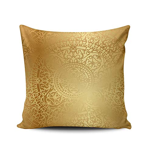 XIAFA Gold with Oriental Poplin Home Decoration Pillowcase 26X26 Inch European Stylish Design Throw Pillow Case Cushion Cover Double Sided Printed (Set of 1)