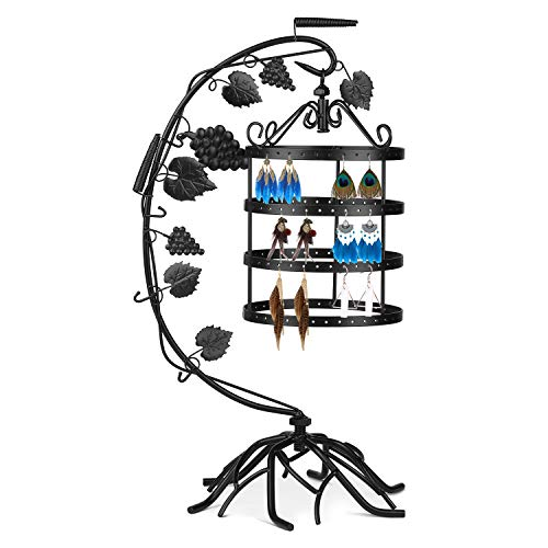 Flexzion Jewelry Tower Display Antique Birdcage Metal Stand, Earring Necklace Holder Organizer w/ 144 Holes, Hanging Display Storage Rack Tree for Earrings Bracelets Necklaces, Girls & Women (Black) 48' Media Storage Tower