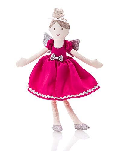 (KLASSMIX Ballerina Princess Plush Baby Doll - Free Storage Gift Bag & Elastic Headband - Princess Toys, Ballerina Toys - Soft Stuffed Toys - Small Dancing Doll)