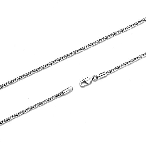 Flat Tag Pendant Link (AmyRT Jewelry 3mm Womens Mens Silver Titanium Flat Link Chain Necklace 20 Inch)
