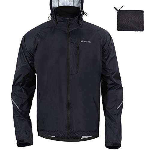 MECASTAR Men`s Cycling Jackets Lightweight Running Coat with Reflective Tape Windproof Waterproof (Black, Large)