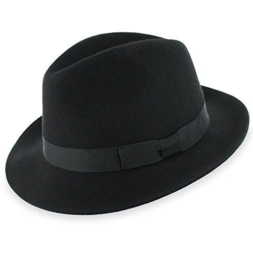 [Belfry Gambino Water Repellent Black Wool Fedora Hat (XLarge)] (Fedora Gangster Hat)