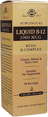 Solgar Sublingual Liquid B-12 2000 mcg with B-Complex, Suitable for Vegans, 59 Servings, 2 Fluid Ounces