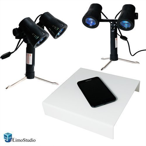 LimoStudio Photography Table Top White Shooting Table and Double Head Photo Studio Quality High Output Photo Table Top Lights with Stand, AGG1234