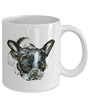Black and White French Bulldog Puppy Mug - Style No.3 - Cute Ceramic Frenchie Coffee Cup (15oz)