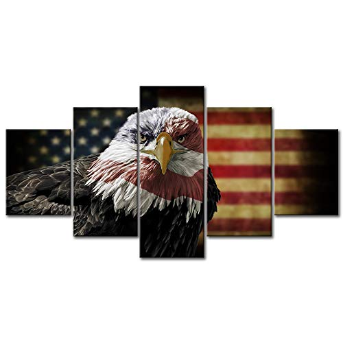 Retro Bald Eagle USA US American Flag Vintage Miltary Canvas Print Independence Day Home Decor Wall Art Pictures for Bedroom Living Room 5 Panel Large Poster Painting Framed Ready to Han(50