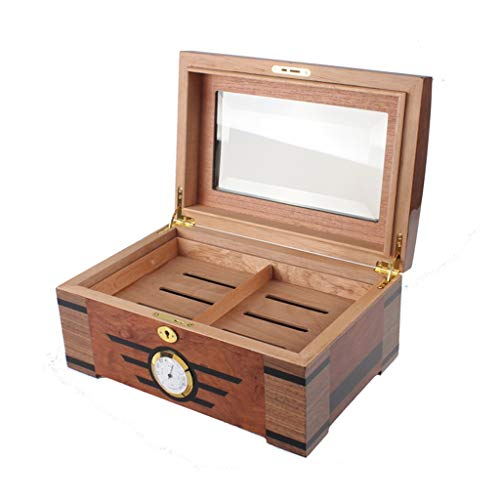 Portable cigar box Cigar Box,with Humidifier and Hygrometer Large Capacity Cigar Box Cigarette Case, Glass Cover, Professional Storage Cigar Seal Constant Temperature and Humidity, Double Layer, Can A by Ac498 (Image #4)