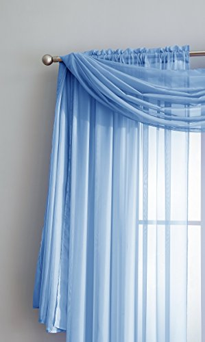 Review Warm Home Designs Extra Long Baby Blue Sheer Window Scarf. Valance Scarves are 56 X 216 Inches In Size. Great As Window Treatments, Bed Canopy Or For Decorative Project. Color: Baby Blue 216