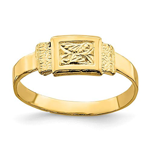 14k Yellow Gold Rectangle Baby Ring