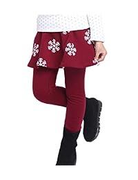 Crazy Little Girls Kids Winter Leggings Fleece Lined Pants Skirt