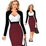 SHOR-DRESS Womens Deep V-Neck Sexy Man-Made Jacket Dress Multicolor Patchwork Business Pencil Dress Burgundy