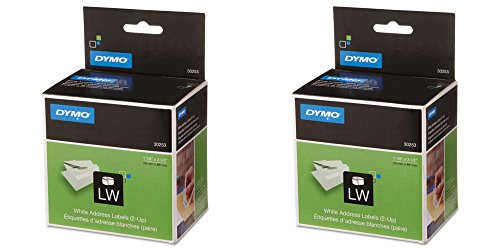 DYMO 30253 - 2-UP LabelWriter Address Labels, 1-1/8 x 3-1/2, White, 700 Lbls/Roll, 1 Roll, 2 Packs (Lbls Roll)