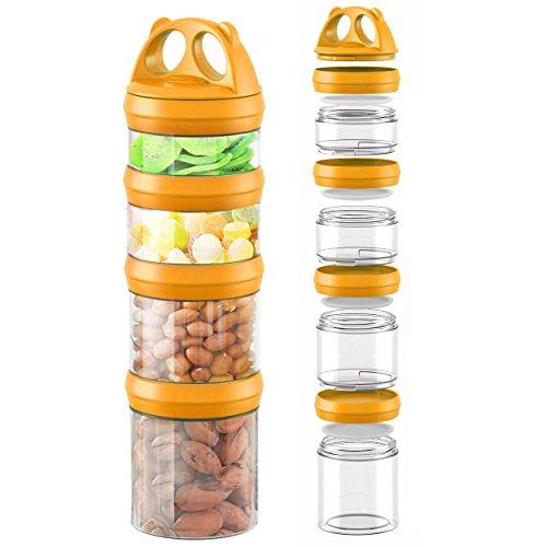 SELEWARE Twist-Lock Storage Jars with Lids Panda Design Stackable Airtight BPA FREE Food Storage Container Plastic Refrigerator Dishwasher Safe 906ML Orange (Twist Lock Lid)