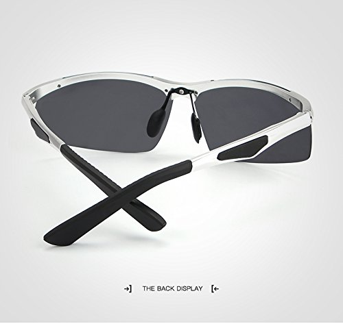 moda Gafas Unisex Silver masculina Gafas UV400 sol deportivo Rectángulo sin sin Gafas para Mujer Silver de de montura de hombre de marco Espejo Gafas Polaroid Grandes Color sol sol Gafas wf7F6qX
