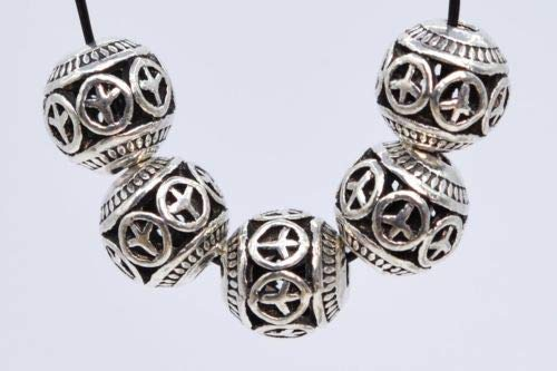 (10 Pcs 8mm Antique Silver Plated Spacer Beads Carve Round Loose Beads Hole 2mm Crafting Key Chain Bracelet Necklace Jewelry Accessories Pendants)