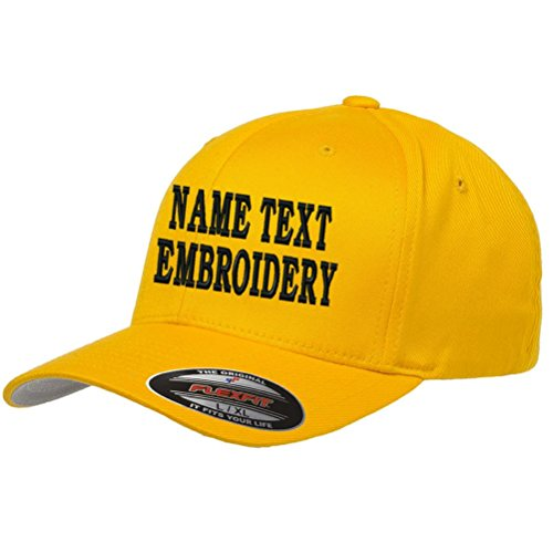 (Custom Embroidery Hat Personalized Flexfit 6277 Text Embroidered Baseball Cap - Gold Yellow)