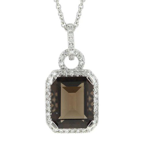 14K White Gold Topaz & Diamond Necklace