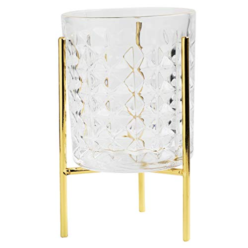 Whisky Hamper - QYSZYG Creative Gold Glass Cup Coffee Cup Whiskey Glass with Golden Iron Frame Jewelry Storage Cup, Gold Storage Basket