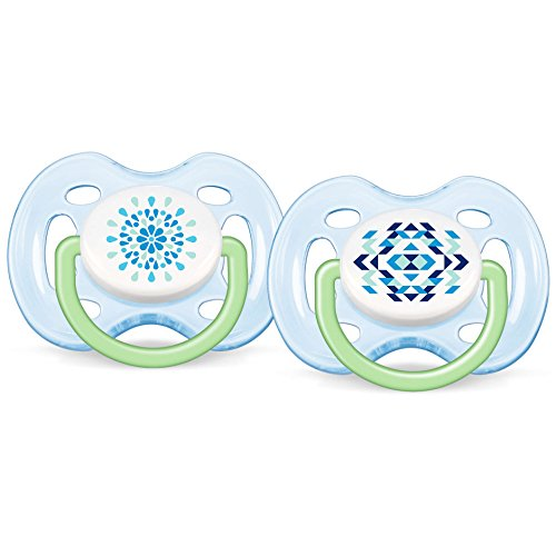 Philips Avent BPA Free Contemporary Freeflow Pacifier, Blue/Green, 0-6 Months, 2 Count