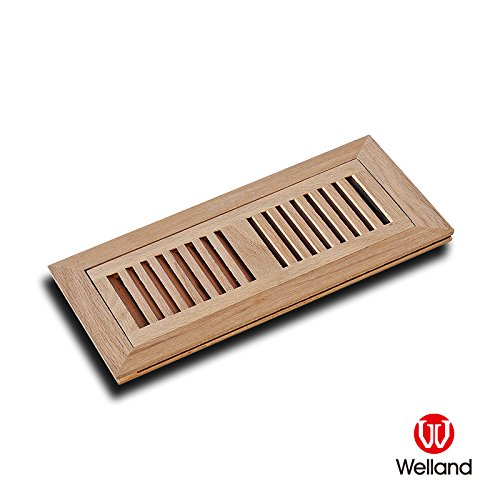 WELLAND 2 Inch x 14 Inch Red Oak Wood Vent Cover Floor Register Louvered with Frame Flush Mount, Unfinished (Wall Unfinished Oak)
