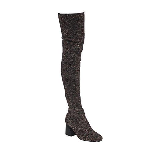 Alva Anna Landon Frauen Oberschenkel Hohe Stiefel Stretchy Snug Fit Socke Stricken Pull On Damen Schuhe Schwarzes Gold