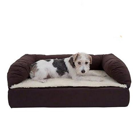 Cama ortopédica de espuma viscoelástica para perros, color marrón y beige, sofá cama cómodo ideal para perros mayores: Amazon.es: Productos para mascotas