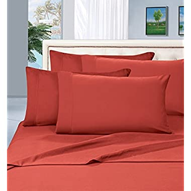 #1 Rated Best Seller Luxurious Bed Sheets Set on Amazon! Elegant Comfort® 1500 Thread Count Wrinkle,Fade and Stain Resistant 4-Piece Bed Sheet set, Deep Pocket, HypoAllergenic - Queen Rust