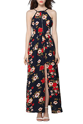 Halter Maxi 03 s Dress Flower Women Sleeveless Sexy YMING Blue Dress Printed Halter Romper vA0pyx