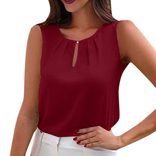 (CCOOfhhc Womens Summer Sleeveless Cowl Neck Solid Color Casual Shirts Front Keyhole Chiffon Tank Tops Blouses Red)