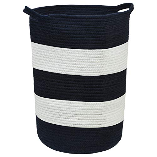 Bluefoot Cotton Rope Storage Basket - Perfect for Nursery, Toy Storage, or Laundry | Tall 18'' H x 13'' D, 100% Cotton, Navy Blue & White Striped, Nordic Style by Bluefoot