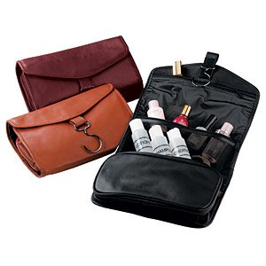 Royce Leather Hanging Toiletry Bag - Leather - Wild Berry - Wild Berry by Royce Leather