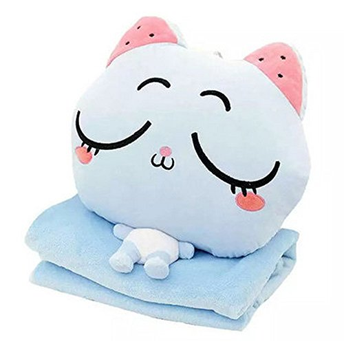 Alpacasso 4 in 1 Cute Cartoon Plush Stuffed Animal Toys Throw Pillow Blanket Set with Hand Warmer Design. (D)