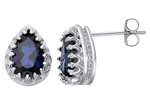 ire Pear Crown Stud Earrings In 14k White Gold Over Sterling Silver (2.66 Cttw) (Pear Shape Sapphire Earrings)