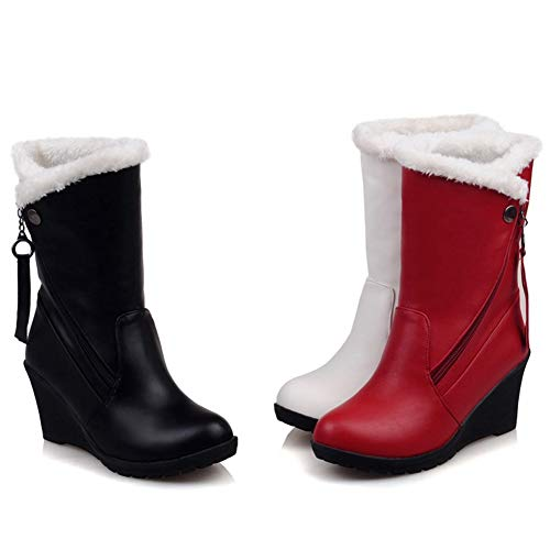 83dea676684e DecoStain Womens Comfort Winter Snow Warm Soft Mid Calf Patent-Leather Wedges  Boots