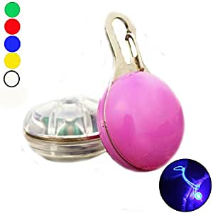 Pink Lizard LED Night Light Circular Pendant Decor Clip-On For Pet Dog Collar