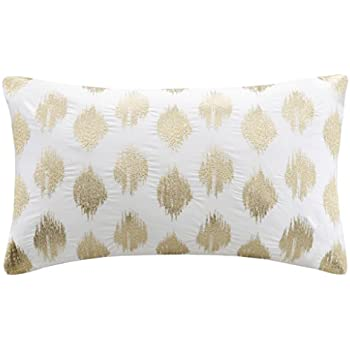 Ink+Ivy Nadia Dot Metallic Gold Cotton Modern Throw Pillow, Casual  Embroidered Fashion Oblong Decorative Pillow, 12X18, Gold