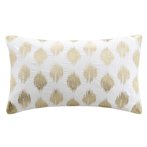 INK+IVY Nadia Dot Metallic Embroidery Oblong Pillow, Gold - Ikat Throw Pillow