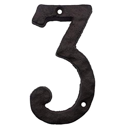 Cast Iron House Numbers- 6 Inch Rustic Address Number- Solid & Heavy Duty/Easy Install with Matching Screws Number - Inch 6 Number House