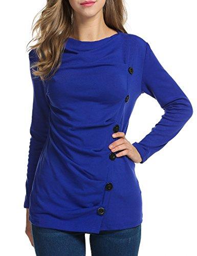 ACEVOG Women Long Sleeve Lightweight Ruched Tunic Tops (X 30 Light Gray Top)