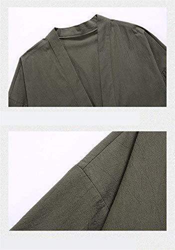 Outwear Outwear Giubbotto Bomber Ricamo Bavero Il Giacca V Tinta Tinta Parka Cotone Haori Kimono Grün Betrothales Uomo Lunga Unita Cappotto Manica Lino Locker Jacket Cappotto HvXqxWZP
