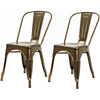Barton Bistro Metal Chair Vintage Side Chairs Bar Pub, Set of 2, Stackable (Bronze)