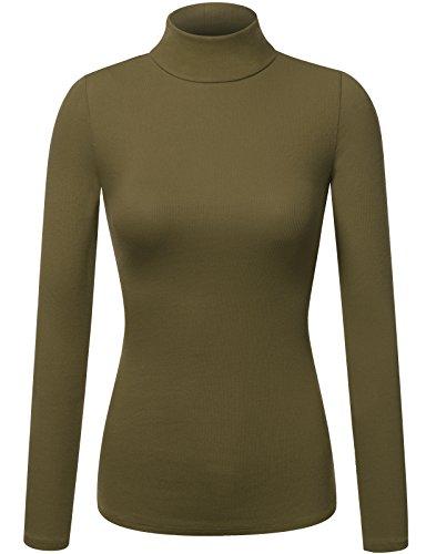 Basic Ribbed Long Sleeve Turtleneck OLIVE 2XL (Ribbed Womens Turtleneck)